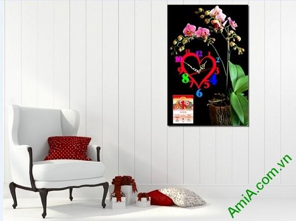 Tranh lịch Tết treo trang trí phòng khách Amia LICHGD24 có thiết kế đồng hồ độc đáo