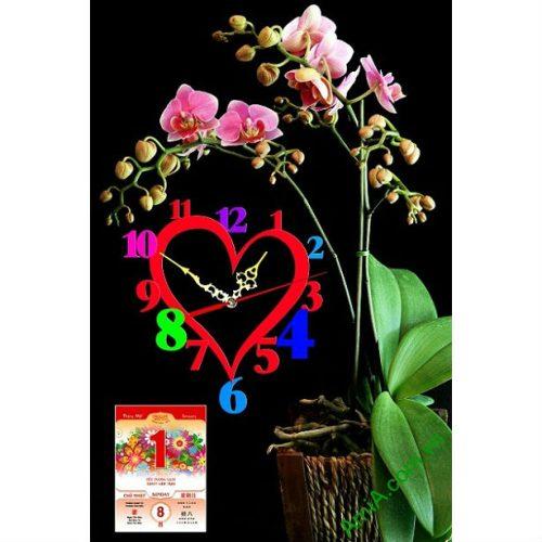 Tranh lịch Tết trang trí phòng khách Chậu Hoa Phong Lan