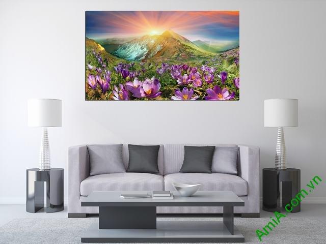 Tranh phong cảnh phòng khách đồi hoa nắng Amia 343-01