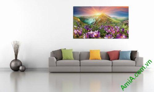 Tranh phong cảnh phòng khách đồi hoa nắng Amia 343-02