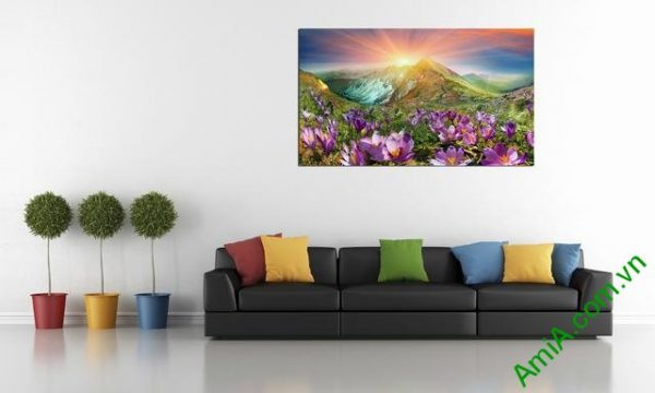 Tranh phong cảnh phòng khách đồi hoa nắng Amia 343-04