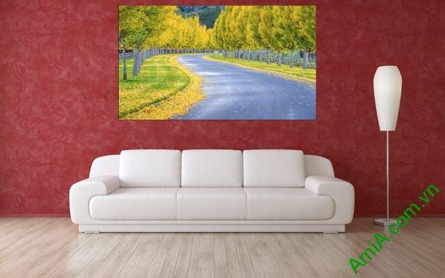 Tranh phong cảnh phòng khách lá vàng mùa Thu Amia 340-01
