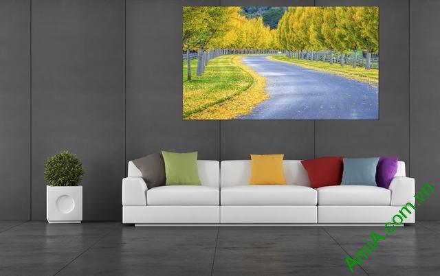 Tranh phong cảnh phòng khách lá vàng mùa Thu Amia 340-02
