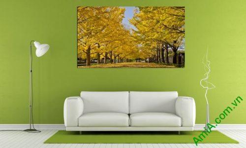 Tranh phong cảnh treo phòng khách cây lá vàng amia 337-01