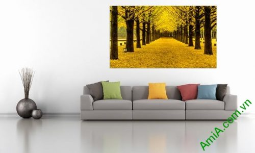 Tranh phòng khách phong cảnh thiên nhiên mùa thu lá vàng amia 338-01