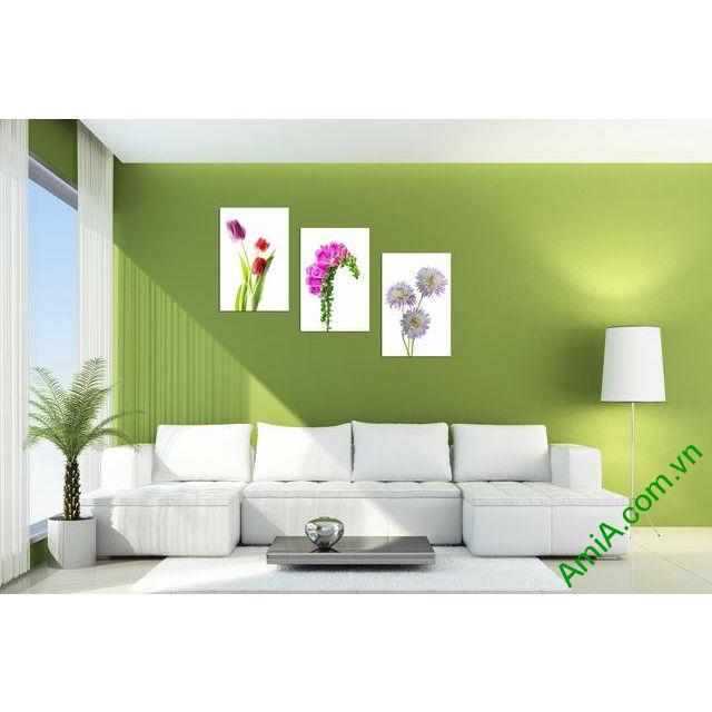Tranh trang trí phòng khách hoa lá bộ 3 tấm amia 305-00