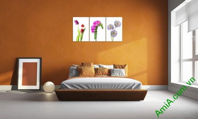 Tranh trang trí phòng khách hoa lá bộ 3 tấm amia 305-02