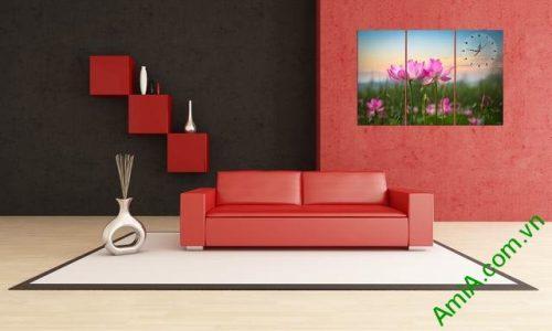 Tranh treo phòng khách hiện đại hoa sen ghép bộ 3 tấm-01