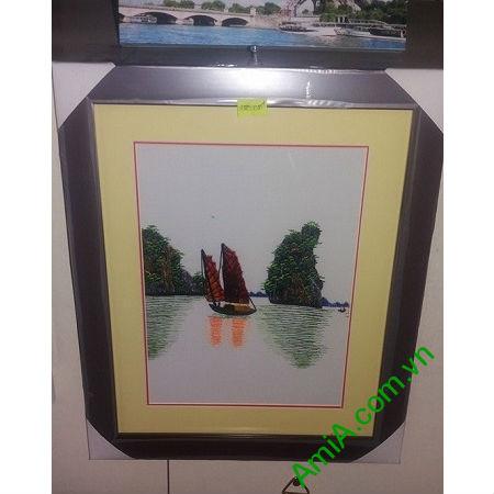 Tranh Treo Phòng Khách Thêu Tay Phong Cảnh Hạ Long