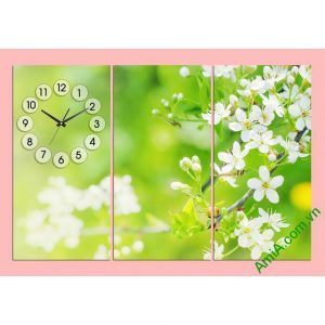 Đồng hồ tranh phòng khách Hoa lá mùa xuân-00