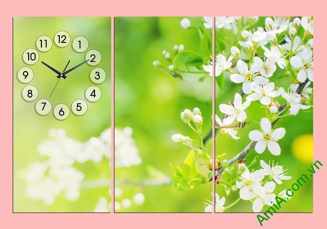 Tranh đồng hồ hoa trang trí phòng khách