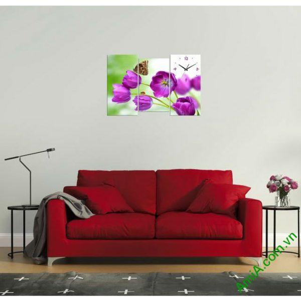 Tranh đồng hồ phòng khách Hoa Tulip tím amia 288-00