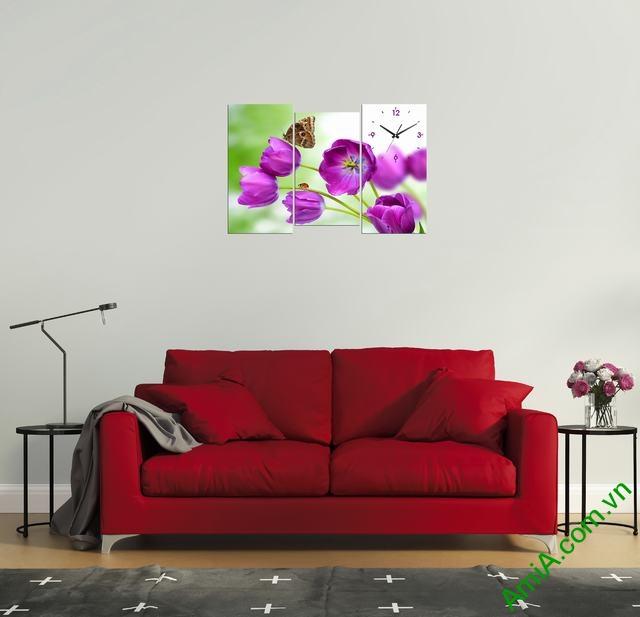 Tranh đồng hồ Hoa Tulip tím trang trí phòng khách ngày Tết