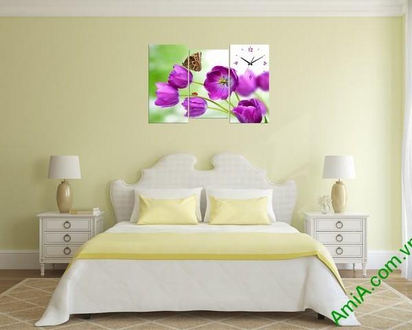 Tranh đồng hồ phòng khách, phòng ngủ Hoa Tulip tím amia 288-01