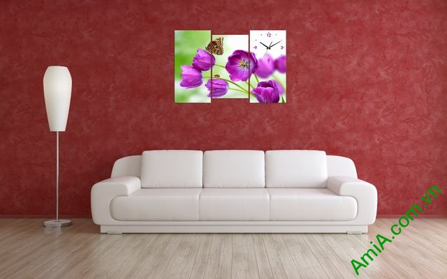 Tranh đồng hồ phòng khách Hoa Tulip tím amia 288-02