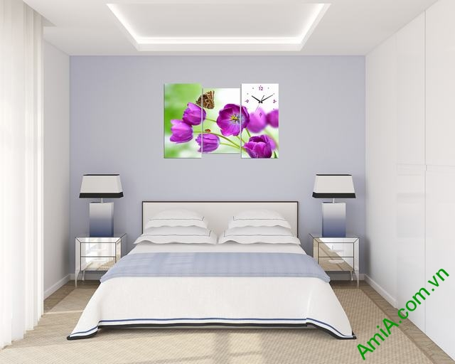 Tranh đồng hồ phòng khách, phòng ngủ Hoa Tulip tím amia 288-04