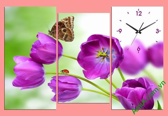 Tranh đồng hồ phòng khách Hoa Tulip tím amia 288