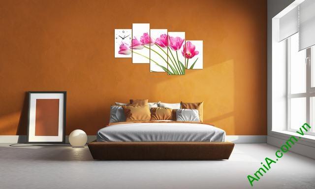 Tranh ghép phòng khách nghệ thuật Hoa Tulip-02