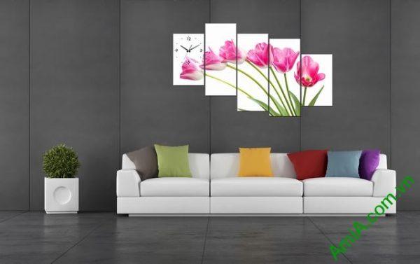Tranh ghép phòng khách nghệ thuật Hoa Tulip-03