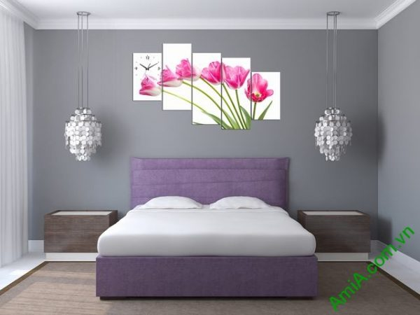 Tranh ghép phòng khách nghệ thuật Hoa Tulip-05