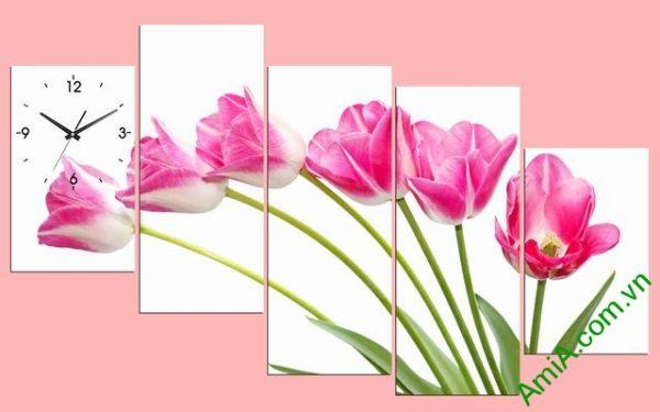 Tranh ghép phòng khách nghệ thuật Hoa Tulip