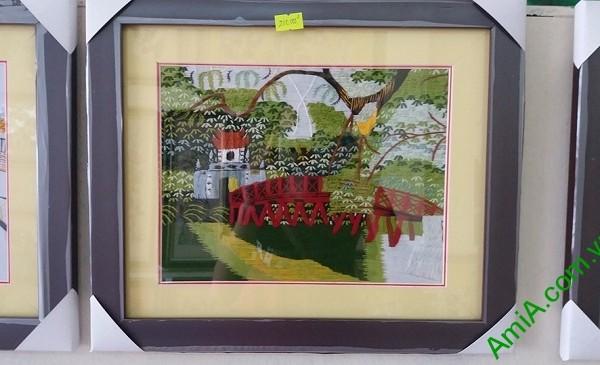Tranh Thêu Tay Phong Cảnh Phòng Khách Hồ Gươm