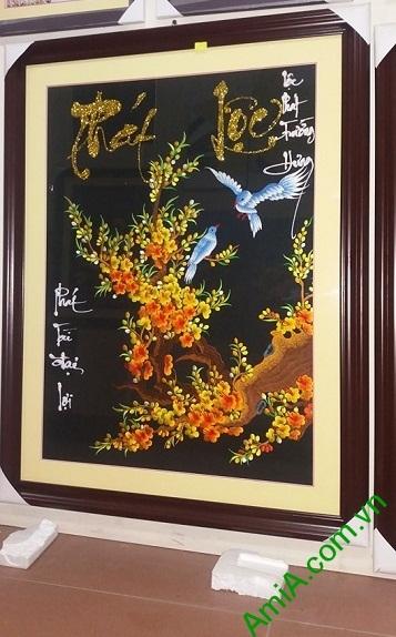 Tranh Thêu Tay Treo Phòng Khách Mai Vàng Phát Lộc