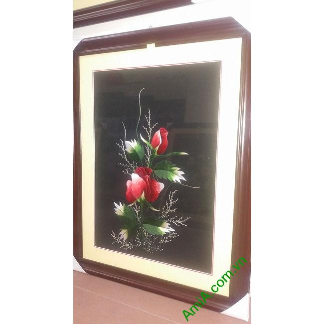 Tranh thêu trang trí phòng khách Hoa Hồng TTH 112