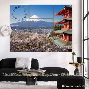 Tranh AmiA 276 treo phòng khách núi phú sỹ Nhật Bản