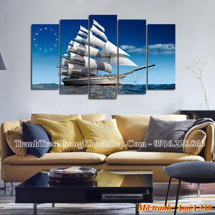 Tranh thuyền doanh nhân treo phòng khách đẹp Amia 330