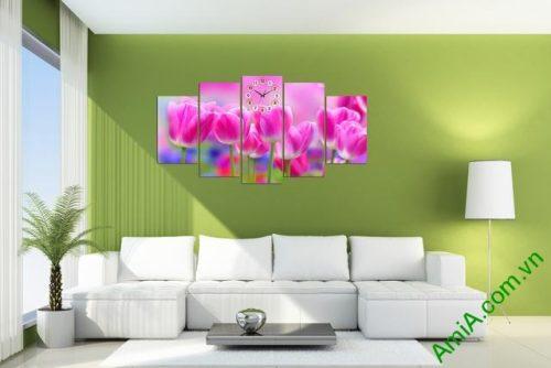 Tranh treo tường phòng khách Hoa Tulip Ạmia 286 -02