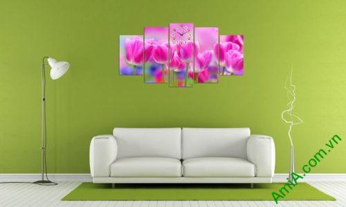 Tranh treo tường phòng khách Hoa Tulip Ạmia 286 -03