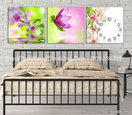 Tranh đồng hồ hoa lan treo tường phòng ngủ AmiA 296