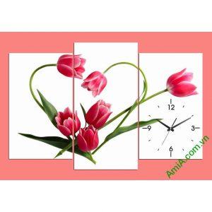 Tranh đồng hồ treo phòng khách, phòng ngủ hoa tulip amia 354-00