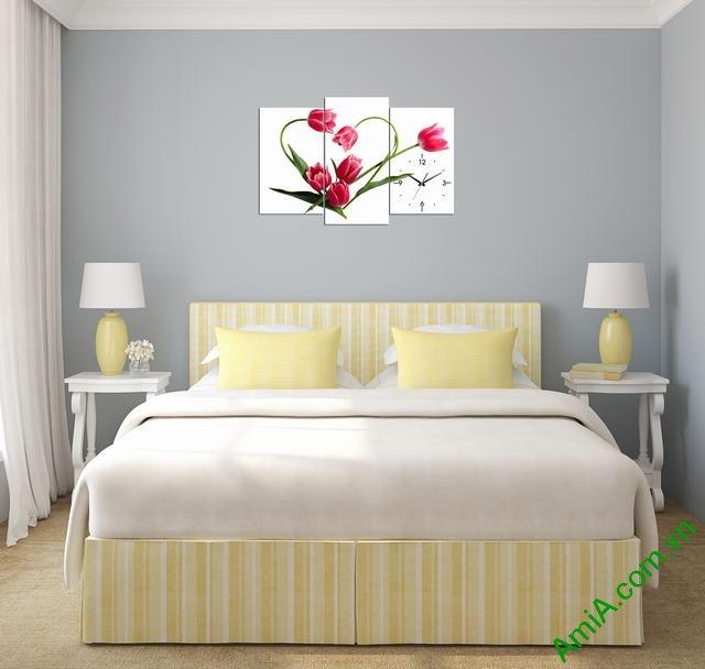Tranh đồng hồ treo phòng khách, phòng ngủ hoa tulip amia 354-01