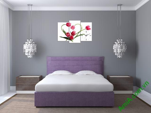 Tranh đồng hồ treo phòng khách, phòng ngủ hoa tulip amia 354-02