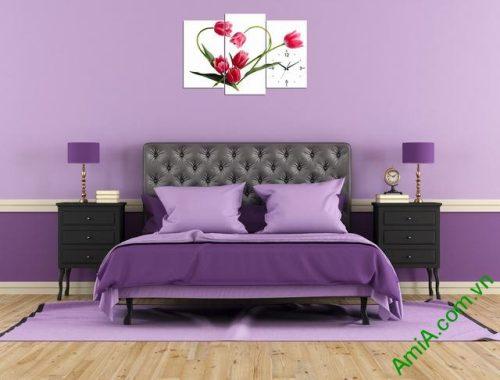 Tranh đồng hồ treo phòng khách, phòng ngủ hoa tulip amia 354-03