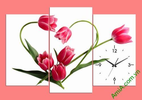 Tranh đồng hồ treo phòng khách, phòng ngủ hoa tulip amia 354