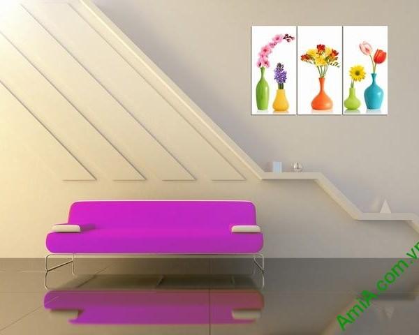 Tranh ghép bộ phòng khách 3 tấm bình hoa Amia 352-01