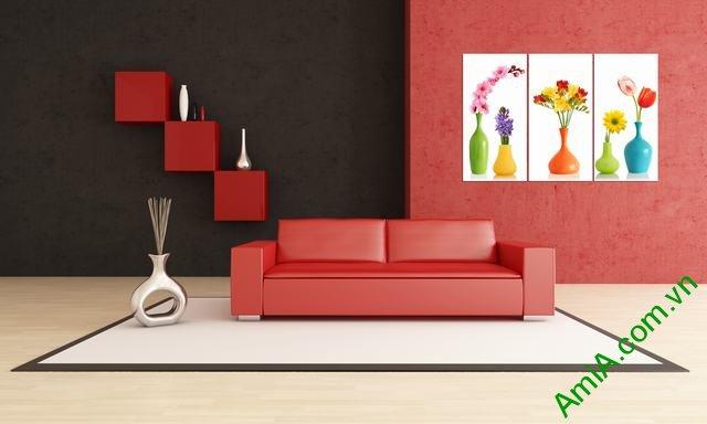 Tranh ghép bộ phòng khách 3 tấm bình hoa Amia 352-02