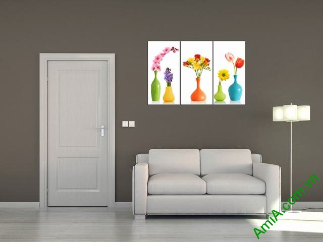 Tranh ghép bộ phòng khách 3 tấm bình hoa Amia 352-03