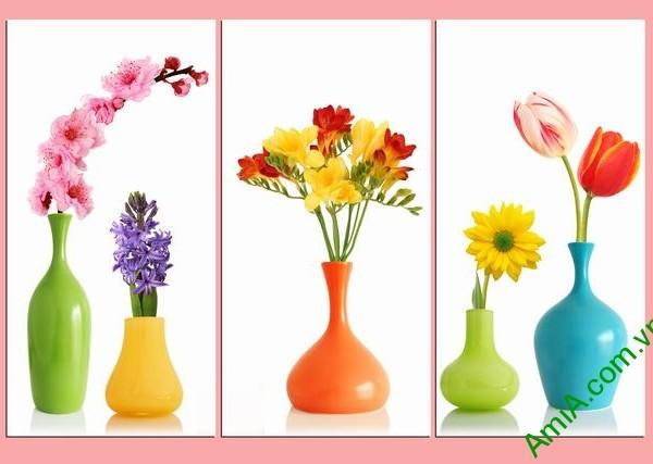 Tranh ghép bộ phòng khách 3 tấm bình hoa Amia 352