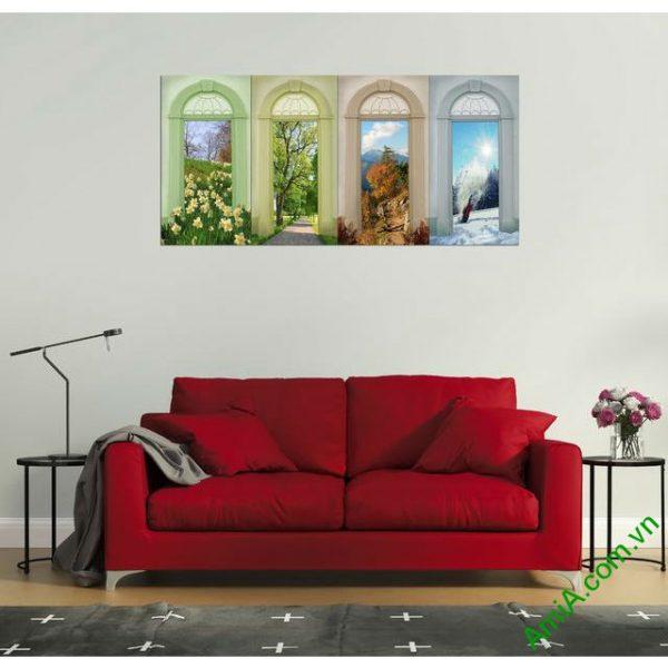 Tranh ghép bộ trang trí phòng khách bốn mùa amia 334-00