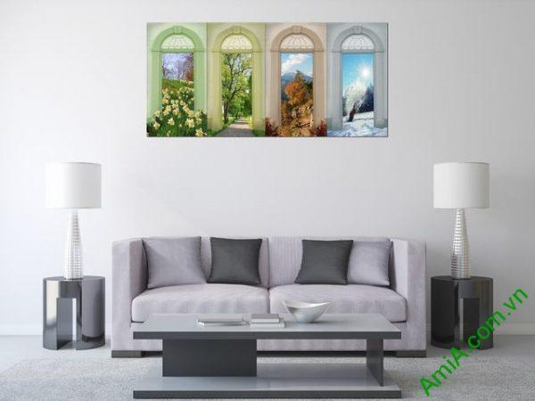 Tranh ghép bộ trang trí phòng khách hiện đại Amia 334-01