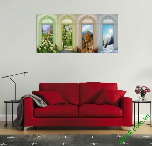 Tranh ghép bộ trang trí phòng khách hiện đại Amia 334-02