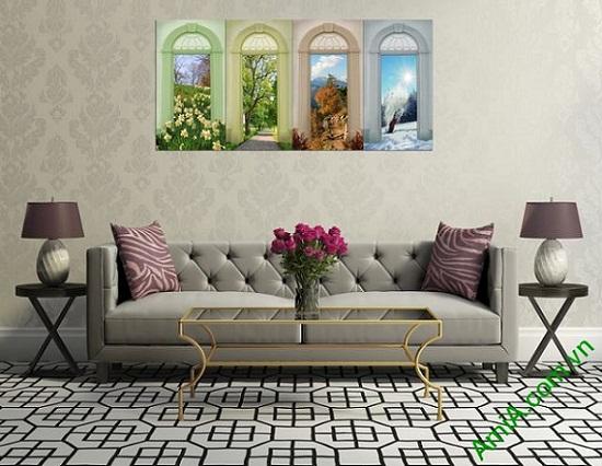 Tranh ghép bộ trang trí phòng khách hiện đại Amia 334-03
