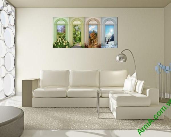 Tranh ghép bộ trang trí phòng khách hiện đại Amia 334-04
