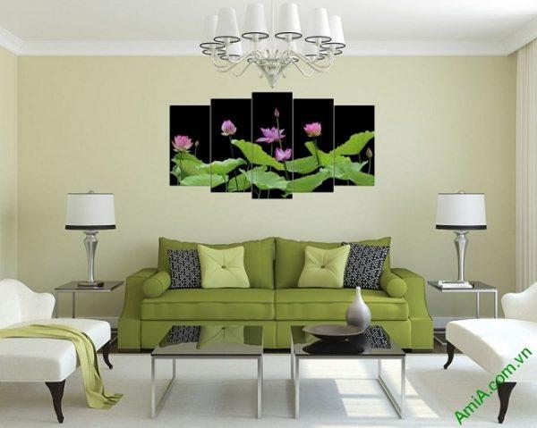 Tranh hiện đại treo phòng khách Hoa Sen ghép bộ 5 tấm amia 380-02