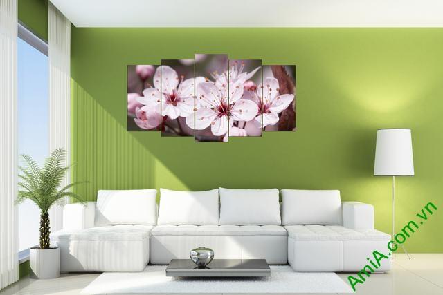 Tranh hoa đào ghép bộ phòng khách 5 tấm amia 392-02