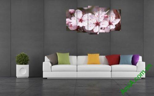 Tranh hoa đào ghép bộ phòng khách 5 tấm amia 392-03